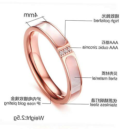Campton Womens Shell Size 6,7,8 Rose Gold Stainless Steel Wedding Ring Jewelry Gift | Model RNG - 239 | 7 ()