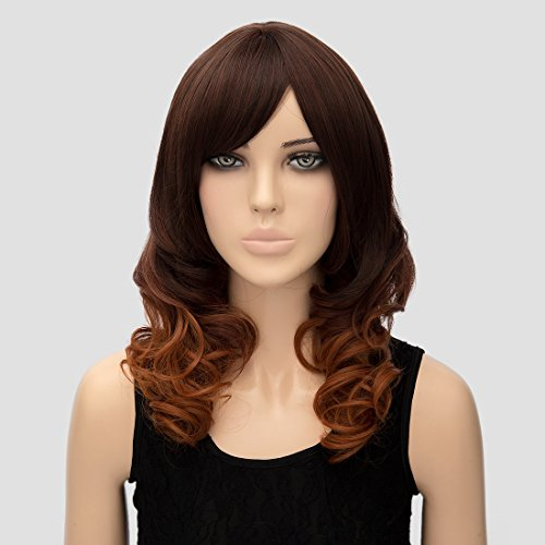 [Women Wigs Women's Girls Fashion Wavy Curly Long Hair Human Full Wigs + Hairnet (Deep Brown)] (Sexy Glamour Wig In Auburn)