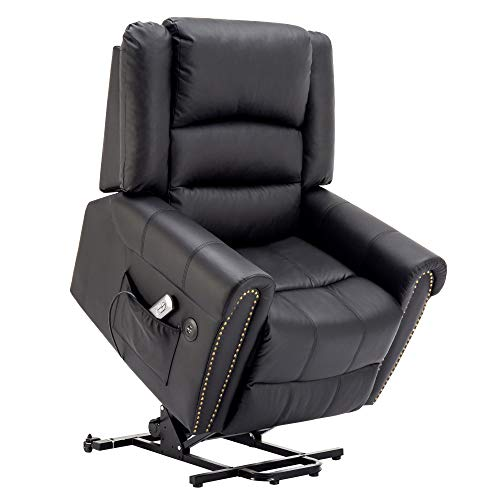 Electric Power Lift Recliner Chair Dual TUV Motor Infinite Position Lay Flat Sleeper PU Leather Lounge with Remote Control Dual USB Charging Ports 7298 (Black)