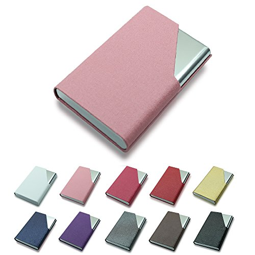 Efaithtek Professional Business Card Holder Business Name Card Holder Luxury PU Leather & Stainless Steel Multi Card Case - Keep Your Business Cards Clean(Pink) (Card Business Pink)