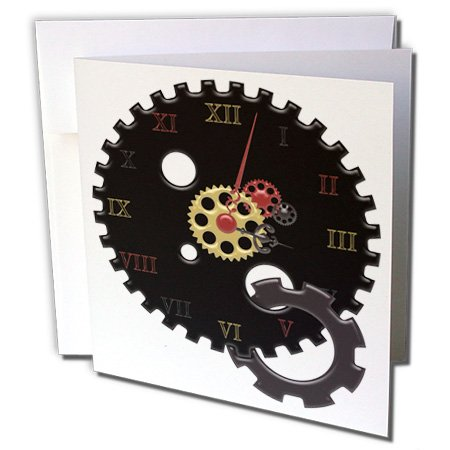 3dRose Anne Marie Baugh - Steampunk - Black, Red, and Faux Gold Steampunk Cog Clock Illustration - 1 Greeting Card with envelope (gc_235668_5)