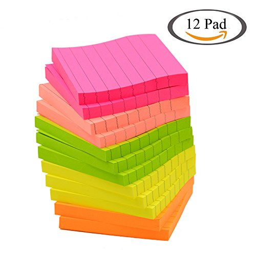 Sticky Notes, Memo Self-Stick Notes, Lined ,3X3 Inches 80 Sheets/Pad 12 Pad/Pack, 5 Colors