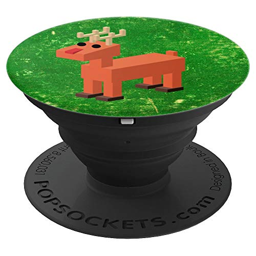 Pixel Block Red Nose Reindeer Christmas - PopSockets Grip and Stand for Phones and Tablets