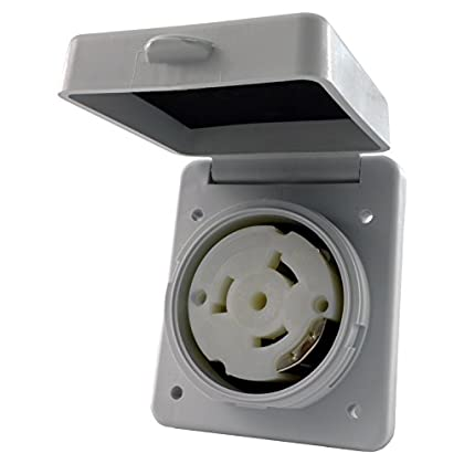 Image of Boat Trailer Accessories Conntek 50 Amp Outlet 80722-SQWT 50 Amp 125/250V Detachable Outlet, Square White Cover