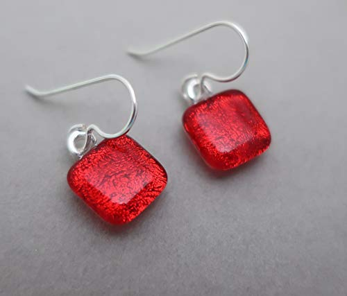 Fused dainty bright red square dichroic glass drop earrings. Sterling silver ear wires #172