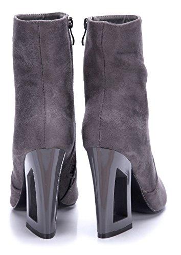 Blockabsatz Schuhe cm Stiefeletten Schuhtempel24 11 High Boots Stiefel Damen Klassische Grau Heels qCcwFRZ