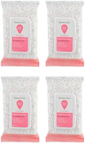 Summer's Eve Cleansing Cloths   Sheer Floral  32 Count   Pack of 4   pH-Balanced, Dermatologist & Gynecologist Tested