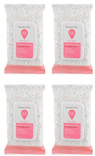 Summer's Eve Cleansing Cloths | Sheer Floral |32 Count | Pack of 4 | pH-Balanced, Dermatologist & Gynecologist Tested, 32 Count (Pack of 4)