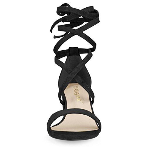 Mid K Suede Up Lace Heeled Allegra Sandals Black faux Women wISnOzO