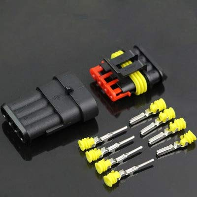 Ochoos 10 Set 4 Pin Waterproof Automotive Connector AMP Cable Wire Socket for Car HID Connector: DIY & Tools