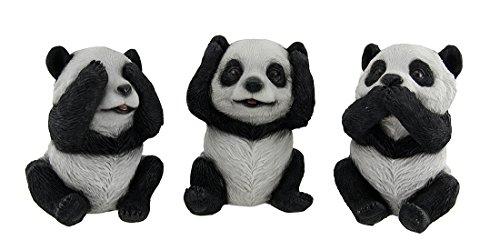 (Zeckos Poly Resin Hear Speak See No Evil Panda Bears Figurine 5.5