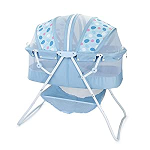 Big Oshi Emma Newborn Baby Bassinet – Portable Bassinet for Boys or Girls – Perfect for Bedside, Indoors, or Outdoors – Lightweight for Travel – Canopy Netting Cover – Wood Bed Base, Blue Circles