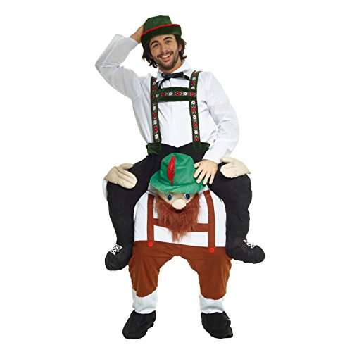 Morphsuits Men's Lederhosen Piggyback Costume Adult, White/Brown, One (Brown Morphsuit)