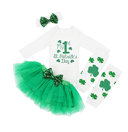 Baby Girl My 1st ST Patrick's Day Green Bodysuit Tutu Headband Outfit Set