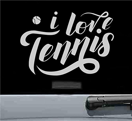 - I love tennis Vinyl Decal Sticker ball racquet shoes (SILVER)