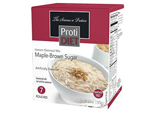 Protidiet Pancakes (ProtiDIET Maple-Brown Sugar Instant Oatmeal Mix (7 Pouches), Simply Add Water, No Sugar Meal Replacement, No Trans Fat, 15G Protein, 90 Calories)