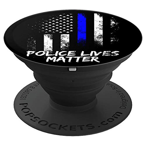 Blue Lives Matter American Flag Thin Blue Line - PopSockets Grip and Stand for Phones and Tablets