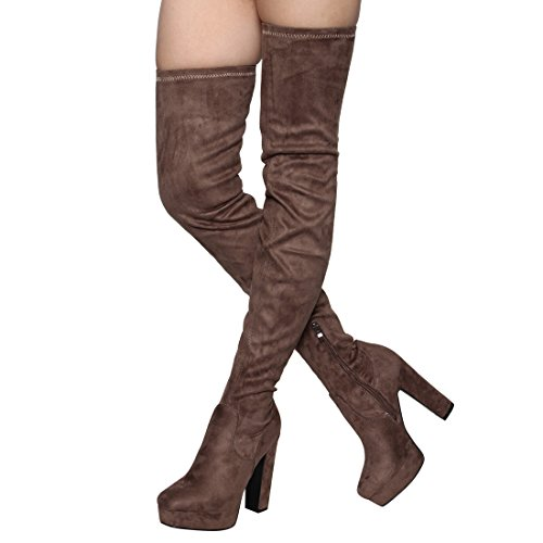 Besonon EJ20 Frauen Seitlicher Reißverschluss Chunky Heel Stretchy Snug Fit Oberschenkel Hohe Stiefel Taupe Wildleder