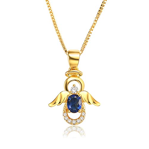 SKA Jewelry Angel Necklace for Girls Women Blue Cubic Zirconia Lovely Angel with Wings Pendant Chain Necklace Adjustable 20