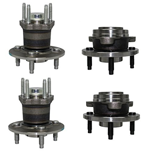 Detroit Axle - 4-LUG Non-ABS Front & Rear Wheel Bearing and Hub Assembly Set for 2007-2009 Pontiac G5 - [2005-2006 Pontiac Pursuit] 2005-2009 Chevrolet Cobalt Ex. SS [2003-2007 Saturn Ion] by Detroit Axle