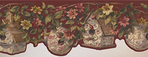 FFM10004B - Cenefa de porcelana para papel pintado, diseño de flores, color amarillo