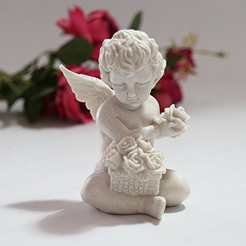 (Tickos Resin Simulation White Antique Angel Cosplay Hands Holding Roses Decoration Lifted Rose Angel Vintage Religious Ornaments Style Garden Resin Crafts Decoration)