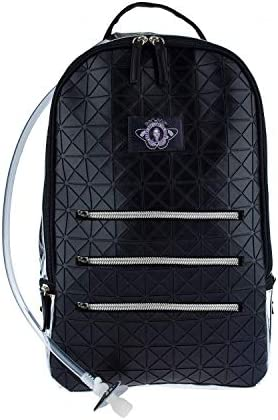 Dan-Pak Large Hydration Backpack 2l- Black Tar -Black Rubber Faux Leather Geometric Design