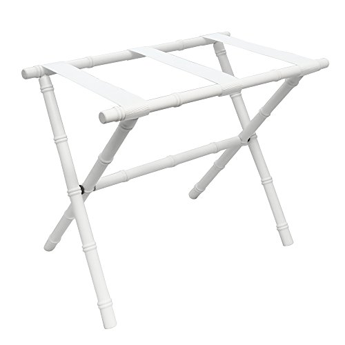 White Folding Bamboo Shaped Luggage Rack with White Nylon Straps ()