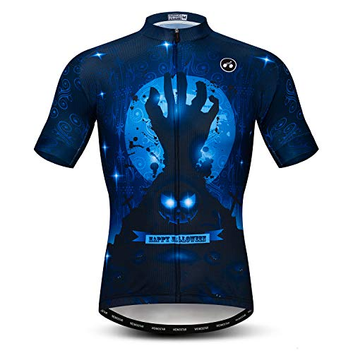 (Cycling Jersey Men Short Sleeve Bike Shirt Breathable Bicycle Jacket Pockets Happy Halloween Size)