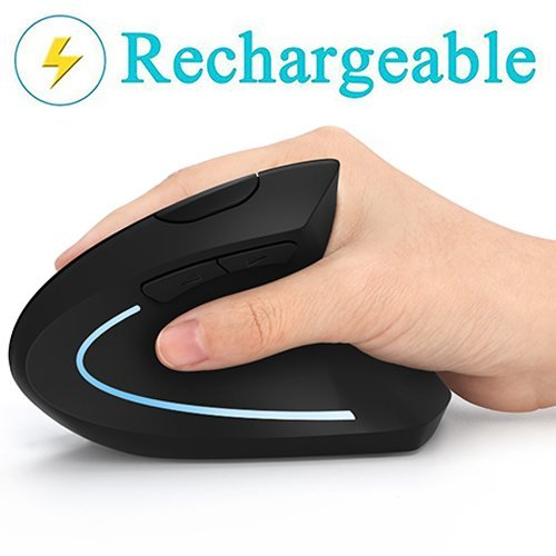 Ergonomic Mouse, Vertical Wireless Mouse - 7Lucky Rechargeable 2.4GHz Optical Vertical Mice : 3 Adjustable DPI 800/1200/1600 Levels 6 Buttons, for Laptop, PC, Computer, Desktop, Notebook etc, Black -