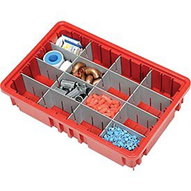 Plastic Dividable Grid Container, 16-1/2''L x 10-7/8''W x 3-1/2''H, Red - Lot of 12 by Quantum