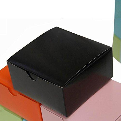 Tableclothsfactory 4x4x2 Black Cake Box-100 - Glossy Boxes