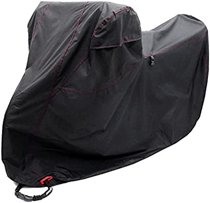 Black-Red XX Large for Honda Yamaha Fits up to 108 Motors Ohuhu All Season Waterproof Motorbike Covers with Lock Holes Harley Motorcycle Cover Suzuki