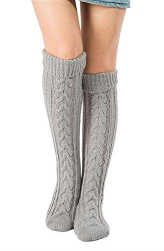 Free Crochet Pattern Teddy Bear (Women's Cable Knit Long Boot Socks Over Knee High Winter Leg Warmer Stocking (gray))