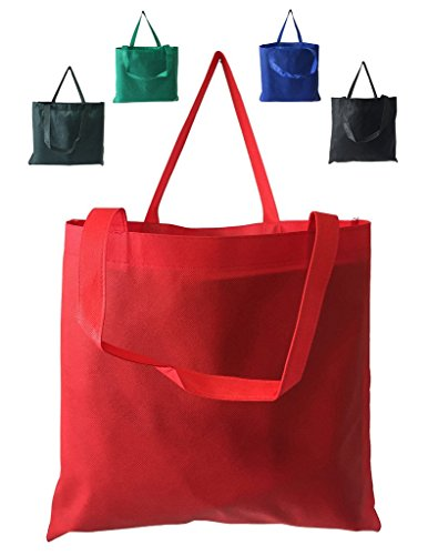 BagzDepot (5 PACK) 80gm Non-Woven Budget Promotional Large size Convention Business Reusable Tote Bags 18