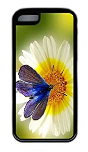 iPhone 5C Case, Personalized Protective Rubber Soft TPU Black Edge Case for iphone 5C - Butterfly Flower Cover by runtopwell