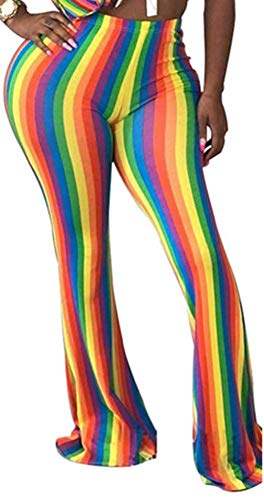 (Speedle Women Colorful Rainbow Striped Hippie Wide Leg Flared Bell Bottom Long Pants Floral 3 S)