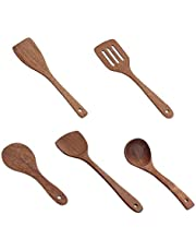 HJKL Wooden Kitchenware Set,Wooden Cooking Tool,Wooden Long Handle Spatula Rice Scoop Cooking Shovel Mixing Wooden Spoons,for Nonstick Pan Kitchen Tools(5PCS/Set)
