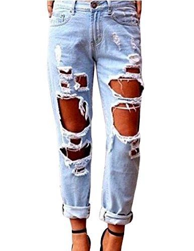 Boyfriend Elastico Lavato Casual Pantaloni Strappato Moda Jean Immagine Donne Come Buco 7BXX1