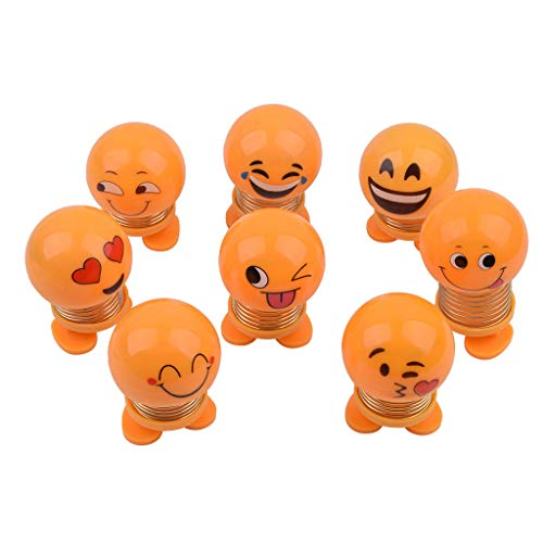EKIMI Cute Cartoon Emoji Bobblehead Doll Toy Car Accessories/Dashboard Bobblehead for Car/ Interior Decoration, Bobble Head Toy, Kid's Gift, Novelty Figures Ornament Dancing Dolls (8Pcs Set)