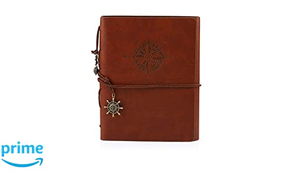 60 Pages Kesoto DIY Scrapbook Photo Album Refillable Leather Memory Book with Vintage Nautical Spiral Compass for Birthday Anniversary Wedding Brown