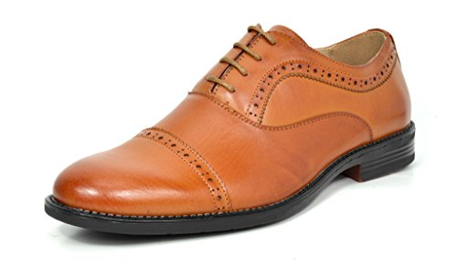 Bruno Marc Men's Halsted-02 Brown Leather Lined Dress Oxfords Shoes - 10.5 M -