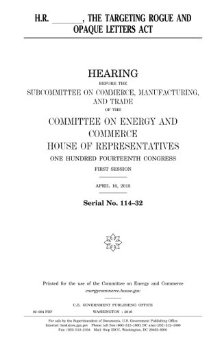 Read Online H.R. _____, the Targeting Rogue and Opaque Letters Act PDF