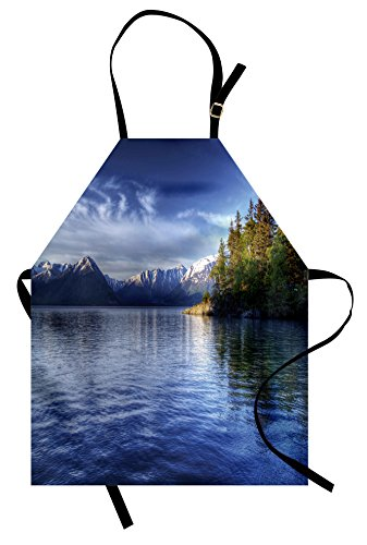Ambesonne Alaska Apron, Turnagain Arm of The Cook Inlet Anchorage Idyllic Lakeside Photography, Unisex Kitchen Bib Apron with Adjustable Neck for Cooking Baking Gardening, Lime Green Navy Blue ()