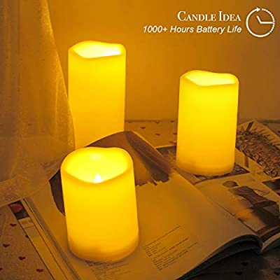 """3PCS 4"""" 5"""" 6"""" Waterproof LED Flameless Timer Candles, 1000 Hours Long Battery Life/Flickering Battery Operated Electric Outdoor LED Large Pillar Candle for Outside Lantern Festival Decor etc."""