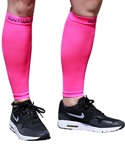 Calf Compression Sleeve - Leg Compression Socks for Shin Splint, & Calf Pain Relief - Men, Women, and Runners - Calf Guard for Running, Cycling, Maternity, Travel, Nurses (Pink, XL) - Cw X Pro Top