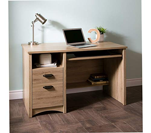 Wood & Style Computer Desk with 2 Drawers and Keyboard Tray Rustic Oak Decor Comfy Living Furniture Deluxe Premium Collection (Gascony Home Office Set)