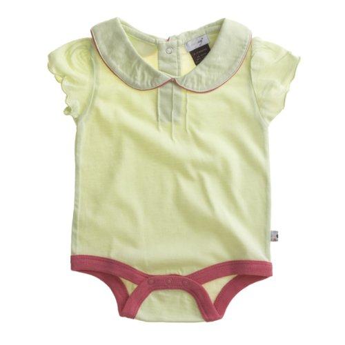 Babysoy Short Puff Sleeve Bodysuit/Romper (Tea/Blossom, 6-12 Months) - Tea Girl Blossom