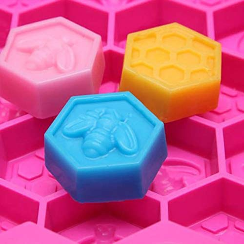 Elevin(TM)  Silicone 19 Cell Bee Honeycomb Cake Chocolate Soap Candle Bakeware Mold -