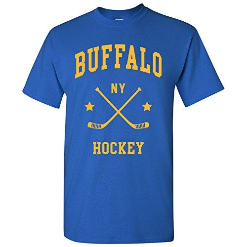 Buffalo Classic Hockey Arch Basic Cotton T-Shirt - Large - Royal (Sabres Shirts Mens Buffalo)